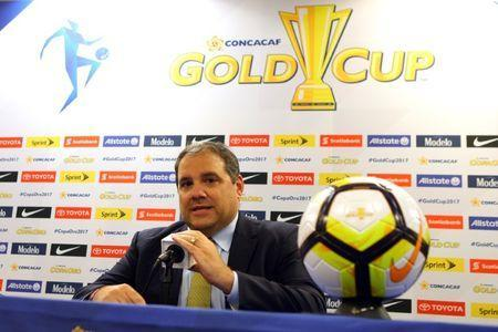 Jul 7, 2017; Harrison, NJ, USA; CONCACAF president Victor Montagliani addresses the media before a Gold Cup game between Canada and French Guiana at Red Bull Arena. Mandatory Credit: Brad Penner-USA TODAY Sports