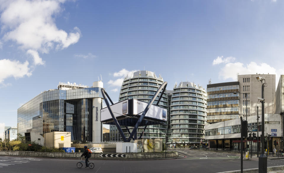 London, United kingdom - November 11, 2012: Cyclist passes Silicon Roundabout, High-technology business district, London.
