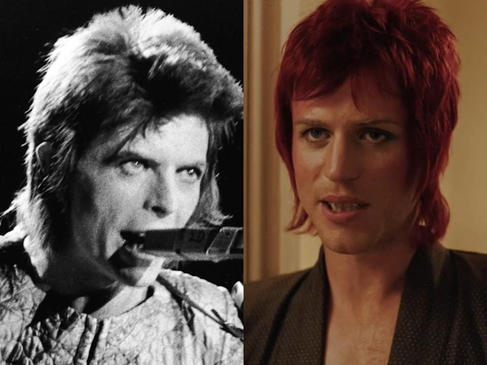 Ziggy Stardust-era David Bowie (left) and Bowie as portrayed in the 'Stardust' trailer by Johnny Flynn (right)Getty/IFC Films