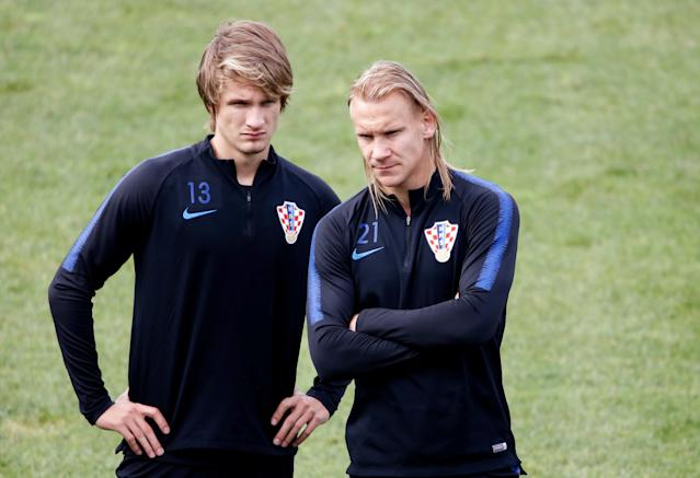 Soccer Football - World Cup - Croatia Training - Croatia Training Camp, Roschino, Russia - June 23, 2018 Croatia's Tin Jedvaj and Domagoj Vida during training REUTERS/Anton Vaganov