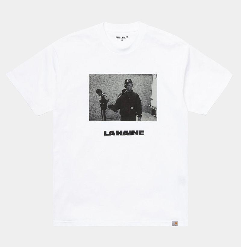 """<p><strong>Carhartt WIP x La Haine </strong></p><p>carhartt-wip.com</p><p><strong>$55.00</strong></p><p><a href=""""https://us.carhartt-wip.com/products/la-haine-mathieu-s-s-tee-white-black-4978"""" rel=""""nofollow noopener"""" target=""""_blank"""" data-ylk=""""slk:By"""" class=""""link rapid-noclick-resp"""">By</a></p>"""