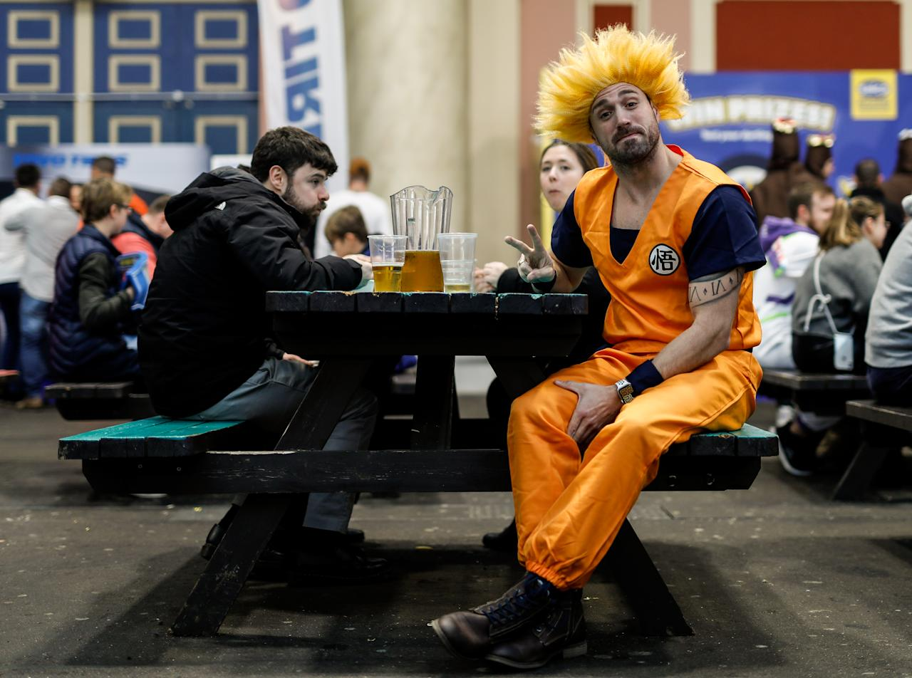A Dragon Ball Z character sips his pint at Alexandra Palace. (Photo by Steven Paston/PA Images via Getty Images)