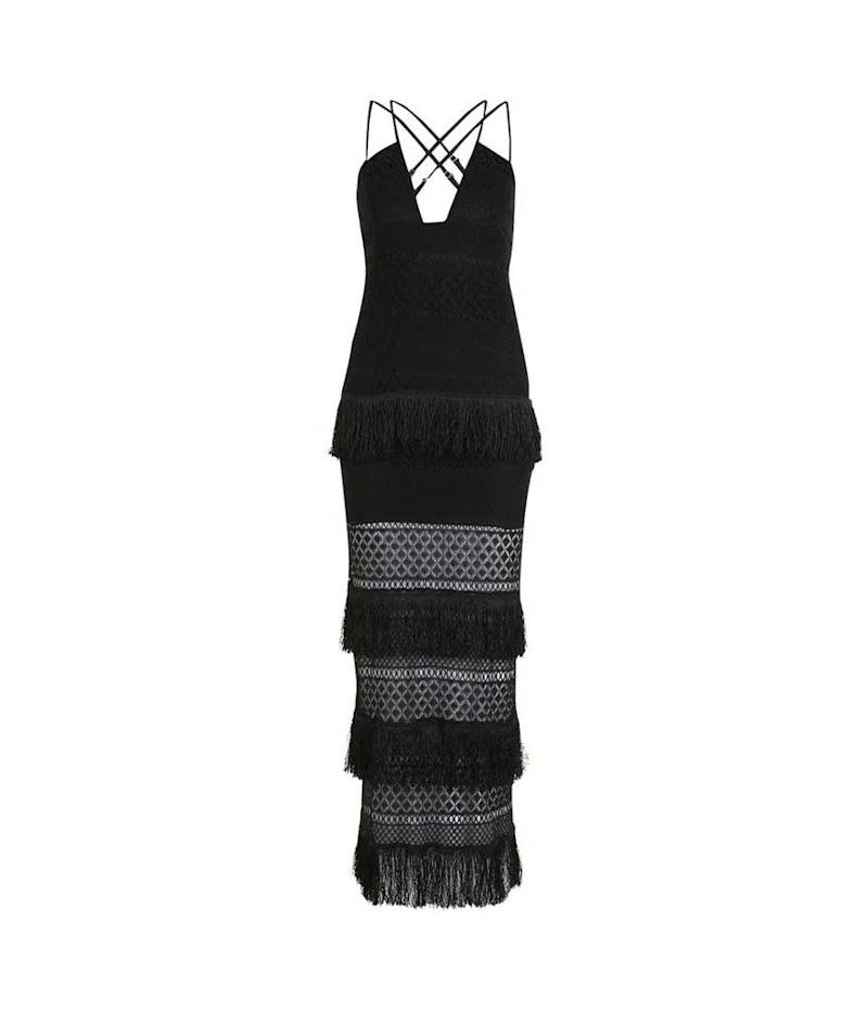 Black fringe maxi dress.