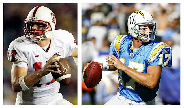 <p>North Carolina State (L), Los Angeles Chargers (R)</p>