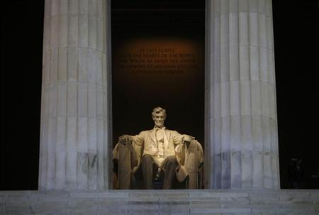 The Lincoln Memorial is pictured devoid of tourists in Washington