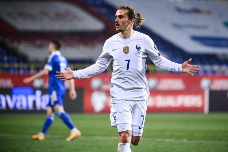 Antoine Griezmann celebrates after scoring the only goal of the game as France beat Bosnia and Herzegovina in Sarajevo