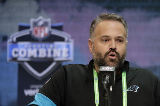 FILE - In this Feb. 25, 2020, file photo, Carolina Panthers head coach Matt Rhule speaks during a press conference at the NFL football scouting combine in Indianapolis, Tuesday,. The Panthers have a new head coach, two new coordinators, a different starting quarterback and a roster with more turnover from last season than any team in the NFL. (AP Photo/Michael Conroy, File)
