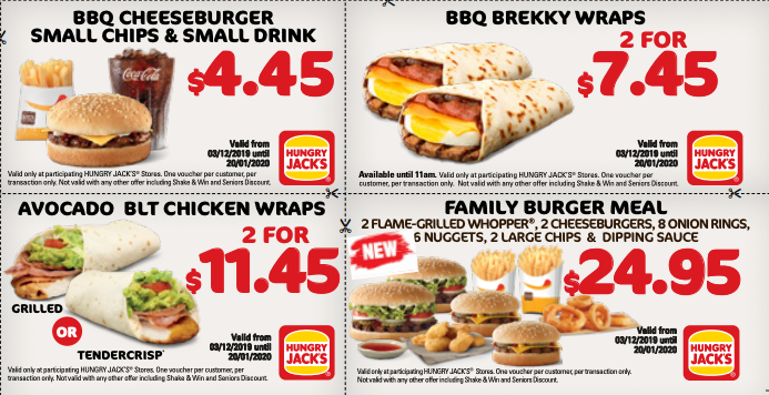 Four deals shown on the Hungry Jack's paper voucher.