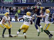 Seattle Seahawks' Chris Matthews recovers an on side kick during the second half of the NFL football NFC Championship game against the Green Bay Packers Sunday, Jan. 18, 2015, in Seattle. (AP Photo/David J. Phillip)