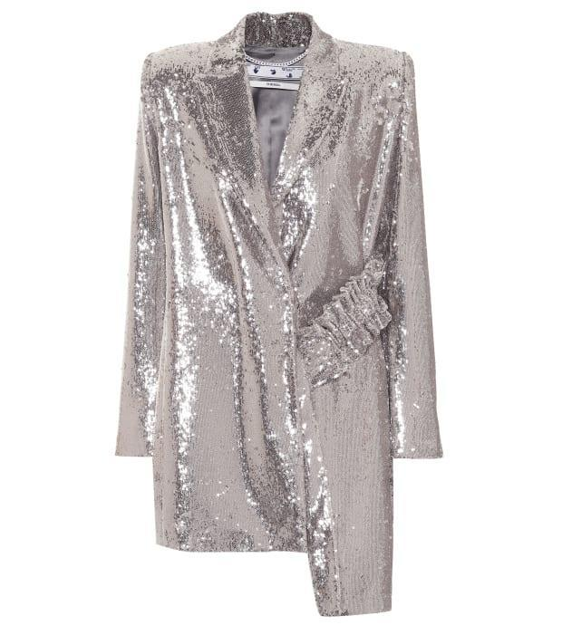 """<p>Off-White Asymmetric Sequined Blazer, $1,757 (from $2,510),<a href=""""https://rstyle.me/+C02NOmF5c-HJjfqejwXGPg"""" rel=""""nofollow noopener"""" target=""""_blank"""" data-ylk=""""slk:available here"""" class=""""link rapid-noclick-resp""""> available here</a> (sizes 2-6).</p>"""