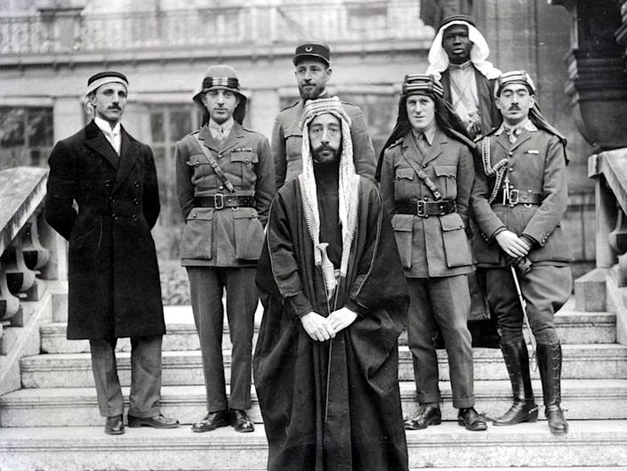 "<span class=""caption"">Prince Faisal of Mecca with his delegation at the Peace Conference.</span> <span class=""attribution""><a class=""link rapid-noclick-resp"" href=""https://en.wikipedia.org/wiki/Faisal_I_of_Iraq#/media/File:FeisalPartyAtVersaillesCopy.jpg"" rel=""nofollow noopener"" target=""_blank"" data-ylk=""slk:Wikipedia"">Wikipedia</a></span>"