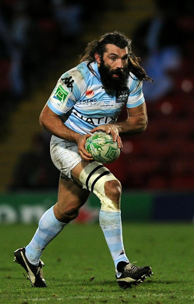 Racing Metro 92's No. 8 Sebastien Chabal runs with the ball during the Heineken Cup rugby union match against Saracens at Vicarage Road in Watford on December 11, 2010. AFP PHOTO / Adrian Dennis (Photo credit should read ADRIAN DENNIS/AFP/Getty Images)