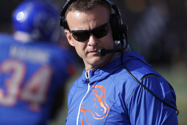 Bryan Harsin is entering his fifth season at Boise State. (AP Photo/John Locher)