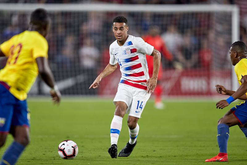ORLANDO, FL - MARCH 21: United States midfielder Tyler Adams (14) dribbles the ball in game action during an International friendly match between the United States and the Ecuador men's national teams on March 21, 2019 at Orlando City Stadium in Orlando, FL. (Photo by Robin Alam/Icon Sportswire via Getty Images)