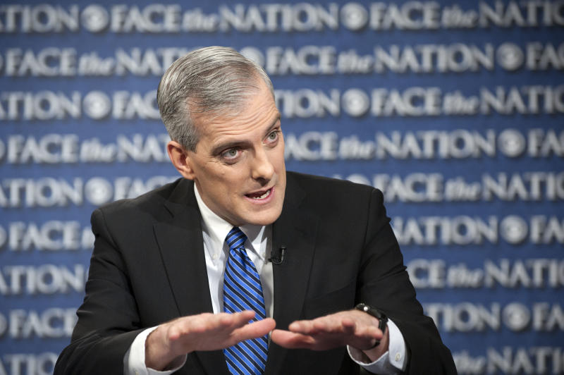 """In this Sunday, Feb. 17, 2013, file photo provided by CBS News new White House Chief or Staff Denis McDonough speaks on CBS's """"Face the Nation"""" in Washington. On talk shows Sunday McDonough said Obama is concerned about the effect the automatic budget cuts, scheduled for next month, will have on America's middle class. He said the economy has been getting stronger over the past few months, and cited improvements in housing, the stock market and consumer confidence. McDonough also said the White House will push for what he calls a reasonable amount of spending cuts coupled with additional tax revenue. (AP Photo/CBS News,Chris Usher)"""