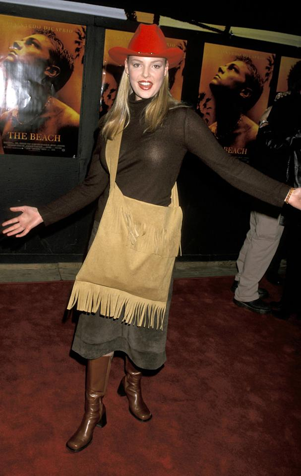 """4. <a href=""""http://movies.yahoo.com/movie/1800025180/info"""">The Beach</a> L.A. premiere (2000)   Contemptible cowboy hat? Check. Scary velvet skirt? Check. Hideous fringed handbag? Check. Embarrassing herself in public? Constantly."""