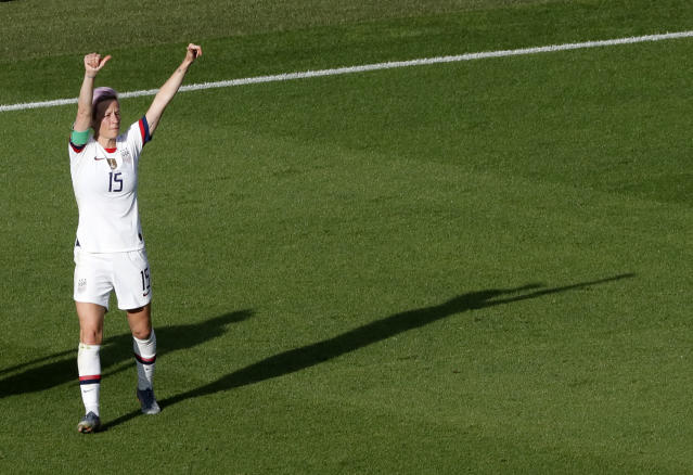 United States' Megan Rapinoe celebrates after scoring her side's second goal from the penalty spot during the Women's World Cup round of 16 soccer match between Spain and United States at Stade Auguste-Delaune in Reims, France, Monday, June 24, 2019. (AP Photo/Thibault Camus)