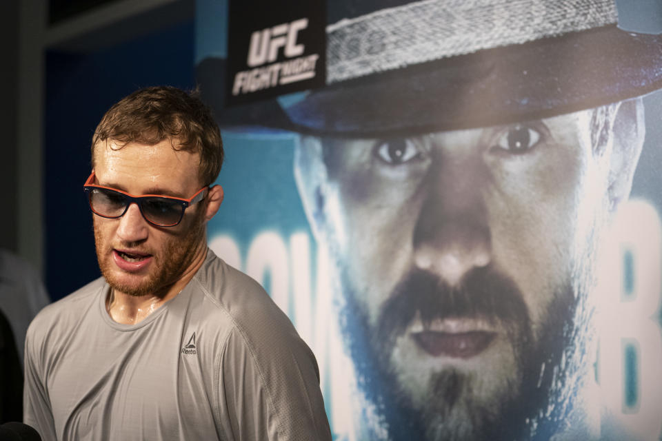 VANCOUVER, BC - SEPTEMBER 11: Justin Gaethje speaks with reporters during the UFC Fight Night Open Workouts at Rogers Arena on September 11, 2019 in Vancouver, Canada. (Photo by Rich Lam/Zuffa LLC/Zuffa LLC)