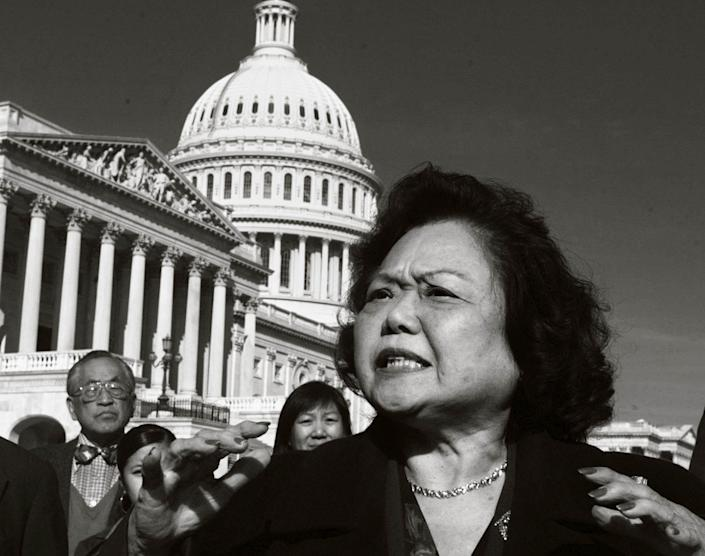 Rep. Patsy Mink, D-Hawaii, meets reporters on Capitol Hill in this Nov. 5, 1997, photo.
