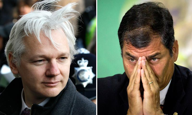 This two picture combo shows from left; a Feb. 1, 2012 file photo of WikiLeaks founder Julian Assange as he arrives at the Supreme Court in London, and a June 20, 2012 photo of Ecuador's President Rafael Correa during a meeting at the United Nations Conference on Sustainable Development, or Rio+20, in Rio de Janeiro, Brazil. Correa's objections to what he deems American interventionism in Latin America and his delight in Assange's massive uncorking of U.S. secrets appear to have persuaded the WikiLeaks chief that Ecuador offers his best shot at avoiding extradition to Sweden. But four days after Assange ducked into Ecuador's London embassy seeking political asylum, this South American nation's leader has yet to announce a decision. The choice may not be easy. (left photo - AP Photo/Kirsty Wigglesworth, File; right photo -AP Photo/Victor Caivano, File)