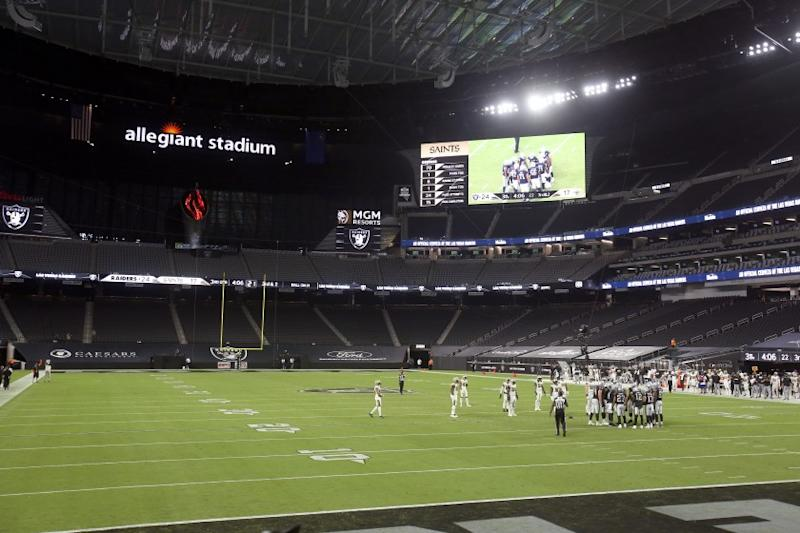 Las Vegas Raiders play against the New Orleans Saints during the second half of an NFL football game, Monday, Sept. 21, 2020, in Las Vegas. (AP Photo/Isaac Brekken)