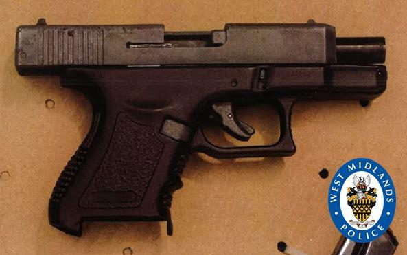 A a loaded Glock-style blank-firing pistol was found in the suspect's car (Picture: West Midlands Police)