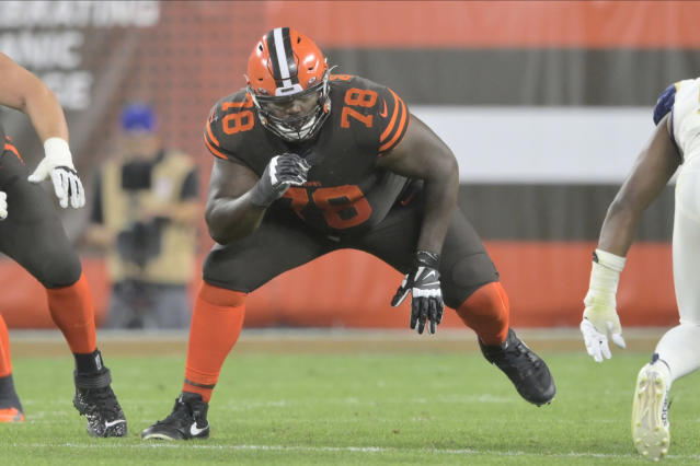 FILE - In this Sept. 22, 2019, file photo, Cleveland Browns offensive tackle Greg Robinson (78) blocks during an NFL football game against the Los Angeles Rams in Cleveland. Robinson will miss Sunday's pivotal game in Pittsburgh due to a concussion. He was placed in concussion protocol earlier this week after he reported to the team's facility displaying signs of a head injury. (AP Photo/David Richard, File)