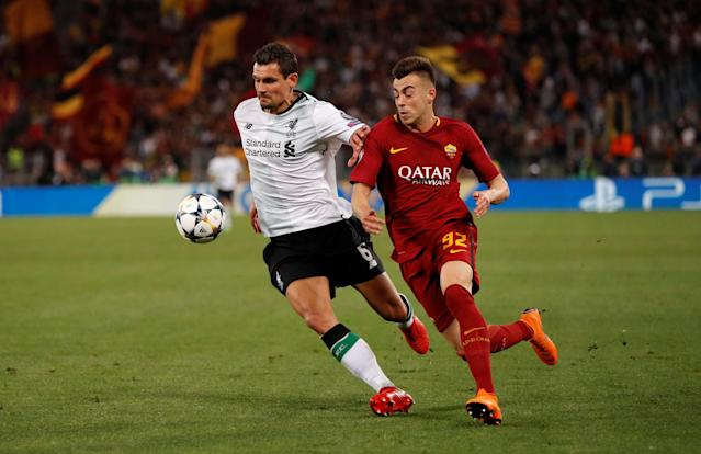 Soccer Football - Champions League Semi Final Second Leg - AS Roma v Liverpool - Stadio Olimpico, Rome, Italy - May 2, 2018 Roma's Stephan El Shaarawy in action with Liverpool's Dejan Lovren Action Images via Reuters/John Sibley