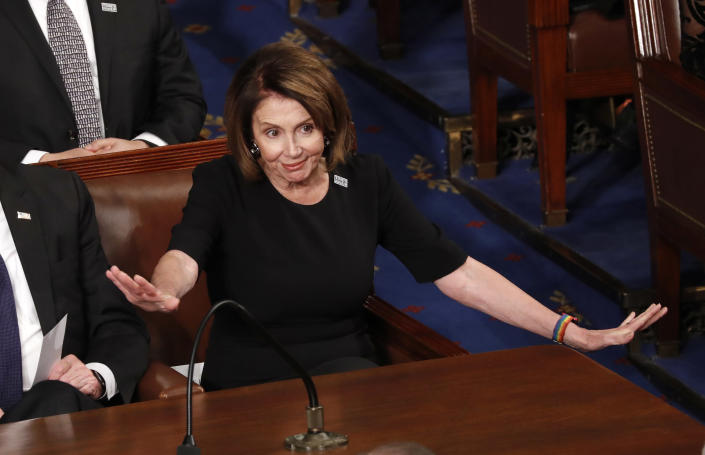 <p>House Minority Leader Nancy Pelosi reacts during Trump's State of the Union address on Jan. 30. (Photo: Jonathan Ernst/Reuters) </p>