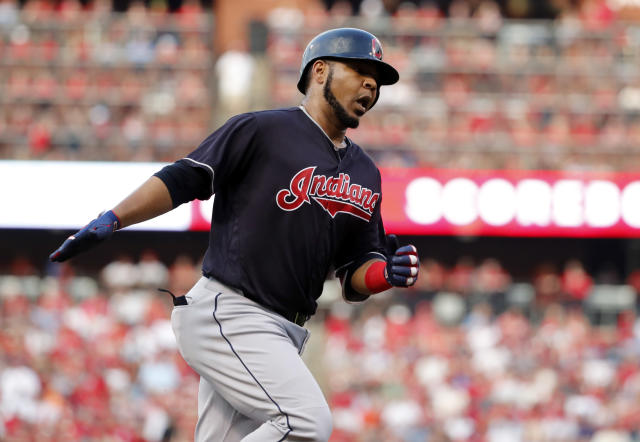 Cleveland Indians' Edwin Encarnacion celebrates after hitting a solo home run during the second inning of the team's baseball game against the St. Louis Cardinals on Wednesday, June 27, 2018, in St. Louis. (AP Photo/Jeff Roberson)
