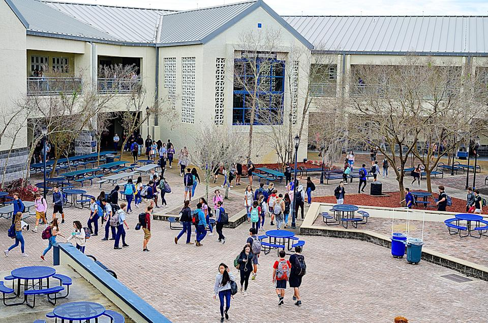 Students change classes at Bartram Trail High School in March 2020.