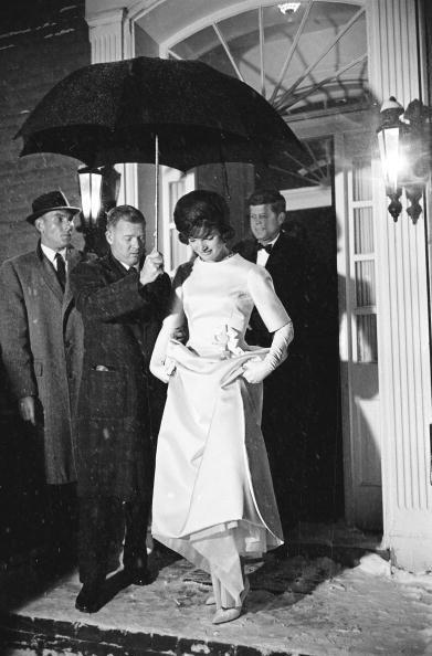 <p>Jackie and President-elect John F. Kennedy leave their house on the morning of the inauguration. </p>