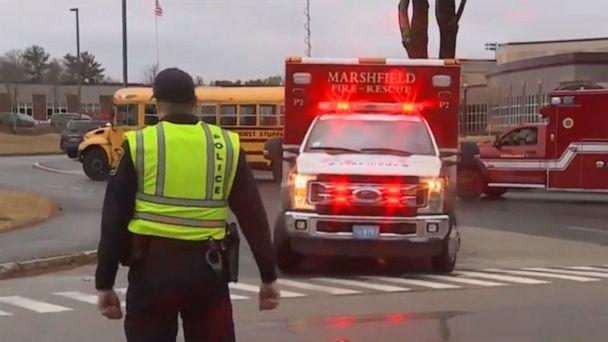 PHOTO: Ambulances respond to Silver Lake Regional High School in Kingston, Massachusetts, after about 40 students and staffers were overcome by a mysterious odor, Feb. 7, 2020. (WCVB)