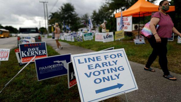 PHOTO: Signs supporting local and national candidates line the sidewalk outside an early voting polling station in Lake Worth, Fla., Friday, Oct. 30, 2020. (Rebecca Blackwell/AP)