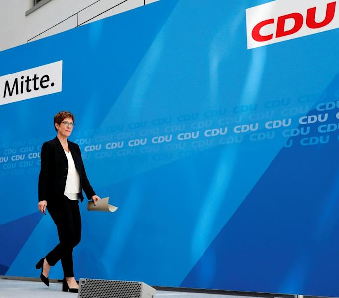 FILE PHOTO:  CDU Chairwoman Kramp-Karrenbauer leaves a news conference at party headquarters in Berlin