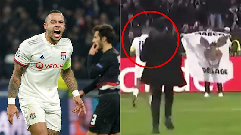 Seen here, Lyon captain Memphis Depay was incensed by a fan's nasty banner about a teammate.