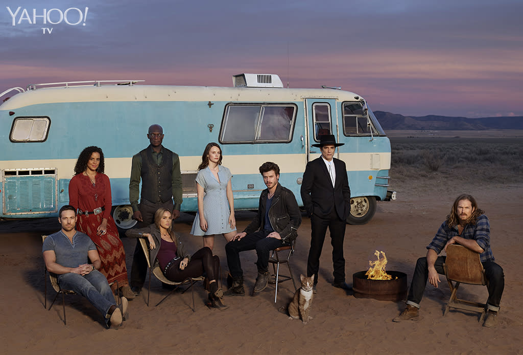 """<p>Meet the supernatural citizens of the Texas town at the center of the new NBC series, which is based on a trilogy by Charlaine Harris in front of psychic Manfred's motorhome. In the show, Manfred summons his long-gone grandma's soul for advice and companionship in that house on wheels. In real life, executive producer Monica Owusu-Breen has dreams of parking it at her house after the show concludes. """"I want his RV in my front yard to be my office. My neighbors probably wouldn't enjoy it, but I sure would."""" (<em>From left:</em><em>Dylan Bruce as Bobo, Parisa Fitz-Henley as Fiji, Peter Mensah as Lemuel, Arielle Kebbel as Olivia, Sarah Ramos as Creek, Francois Arnaud as Manfred, Yul Vazquez as Rev. Sheehan, Jason Lewis as Joe.</em>)<br />(Photo: Virginia Sherwood/NBC) </p>"""