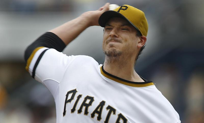 Pittsburgh Pirates starting pitcher Charlie Morton throws against the Milwaukee Brewers in the first inning of the baseball game on Sunday, June 30, 2013, in Pittsburgh. (AP Photo/Keith Srakocic)