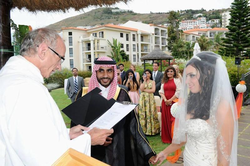 Center, from left: Ghassan Alhaidari and Bethany Vierra at their 2013 wedding | Courtesy the Vierra Family