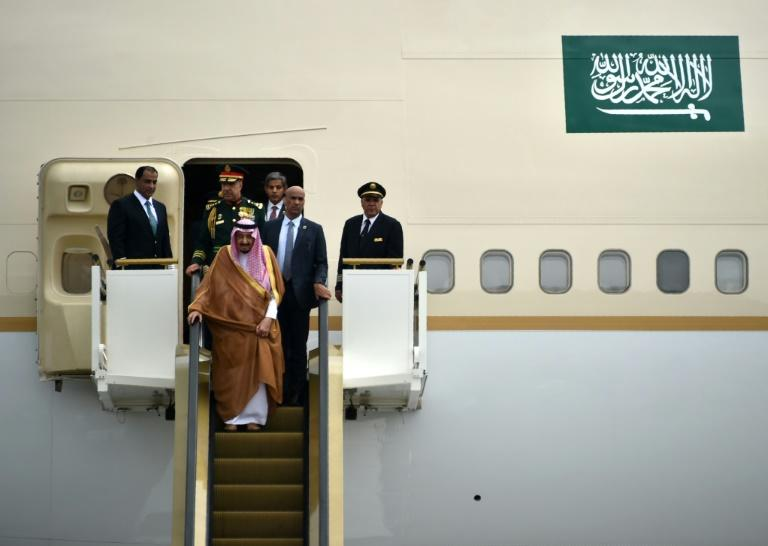 Saudi Arabia's King Salman (front) is accompanied by about 1,000 people and 460 tons of equipment as he visits Indonesia