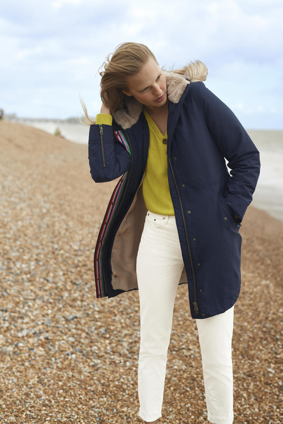 The popular coat comes in two colours: navy and khaki. (Boden)