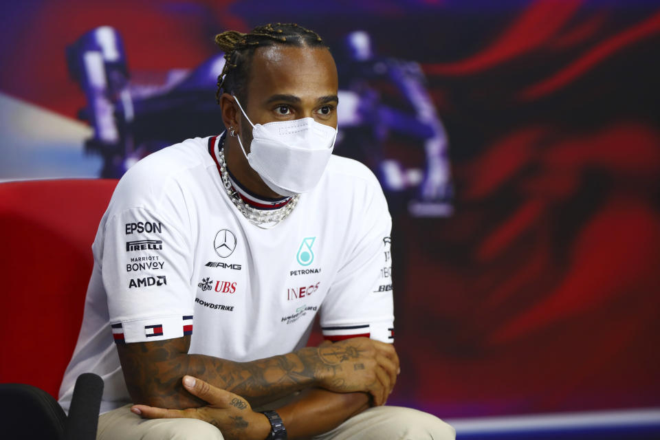 Mercedes driver Lewis Hamilton of Britain attends the Formula One Bahrain Grand Prix press conference in Sakhir, Bahrain, Thursday, March 25,2021. (Dan Istitene, Pool via AP)