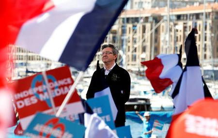 Jean-Luc Melenchon of the French far left Parti de Gauche and candidate for the 2017 French presidential election delivers a speech during a political rally in Marseille, France, April 9, 2017.   REUTERS/Jean-Paul Pelissier