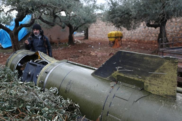 The remains of a missile, fired by Syrian regime forces, in a field in the town of Sarmeen
