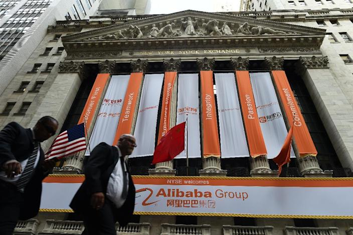 The New York Stock Exchange is adorned with banners on September 19, 2014 (AFP Photo/Jewel Samad)