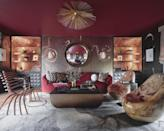"""<p>Design duo <a href=""""https://pulpdesignstudios.com/"""" rel=""""nofollow noopener"""" target=""""_blank"""" data-ylk=""""slk:Beth Dotolo and Carolina Gentry"""" class=""""link rapid-noclick-resp"""">Beth Dotolo and Carolina Gentry</a> designed their chic office space, dubbed """"The Wise and the Wicked,"""" to reflect a polished, yet playful modern woman. Pictured is a secret lounge in the loft office area, which features a fun selection of seating and Garden of Eden–inspired serpent wallpaper.<br></p>"""