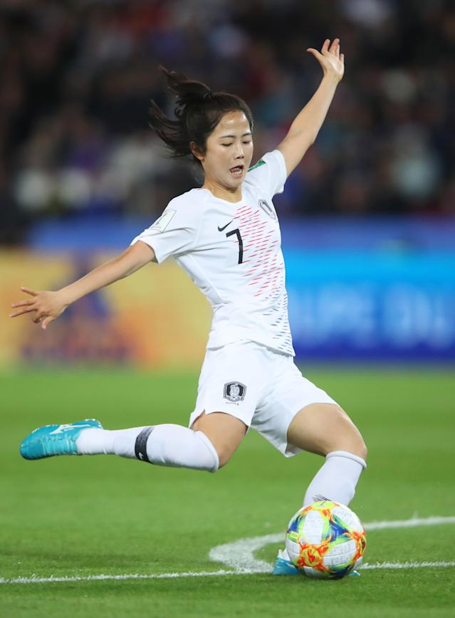 Mina Lee of Korea Republic lines up to shoot during the 2019 FIFA Women's World Cup France group A match between France and Korea Republic at Parc des Princes on June 07, 2019 in Paris, France. (Photo by Alex Grimm/Bongarts/Getty Images)