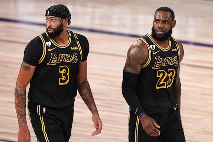 The Lakers' Anthony Davis, left, and LeBron James during Game 2 of the NBA Finals.