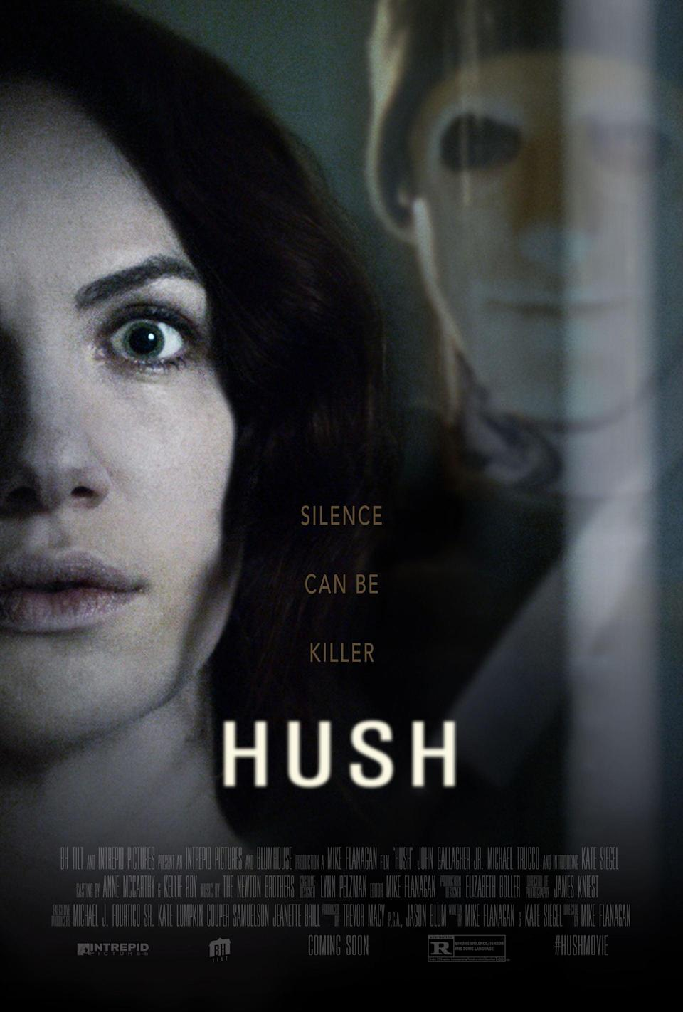"""<p><strong>What you're in for:</strong> Easily one of the best horror movies to come out of Netflix, <strong>Hush</strong> follows a deaf, mute writer over the course of one night as she's hunted by a masked maniac.</p> <p><strong>Notable gore:</strong> Multiple people getting shot by a crossbow, King Joffrey-style.</p> <p><a href=""""https://www.netflix.com/title/80091879"""" class=""""link rapid-noclick-resp"""" rel=""""nofollow noopener"""" target=""""_blank"""" data-ylk=""""slk:Watch Hush on Netflix."""">Watch <strong>Hush</strong> on Netflix.</a></p>"""