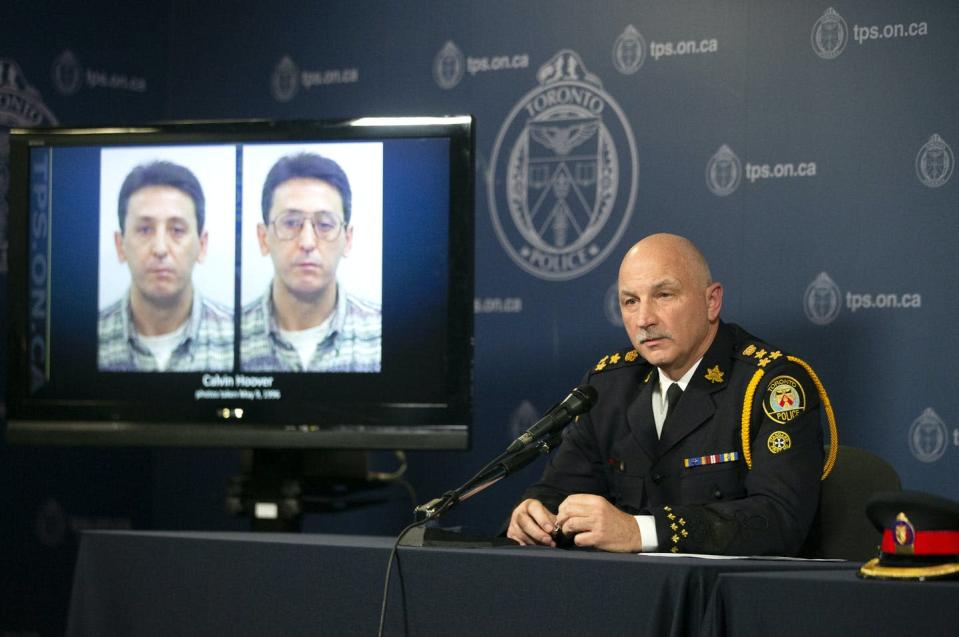 """<span class=""""caption"""">New DNA analysis revealed that Calvin Hoover killed Christine Jessop in 1984. Toronto Police Chief James Ramer sits next to a screen displaying photos of Calvin Hoover during a news conference on Oct. 15, 2020. </span> <span class=""""attribution""""><span class=""""source"""">THE CANADIAN PRESS/Chris Young</span></span>"""